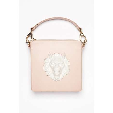 Feminine Jungle Accessories - This Square Clutch Bag by ANDRESGALLARDO Boasts a Bold Lion Motif