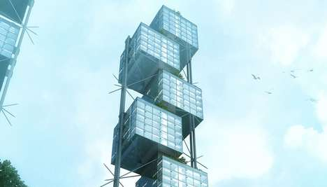 Stacked Cube Skyscrapers - This Sustainable Skyscraper Houses a Flexible Mixed-Use Interior