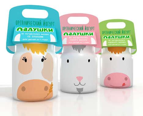 Bovine Dairy Branding - Animal Yogurt Packaging is Visually Appealing and Totally Playful for Kids