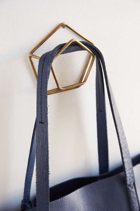 Metallic Pentagon Hangers - This Metal Wall Hook Boasts an Elegant and Geometric Design