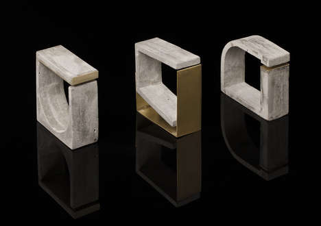 Concrete Architectural Jewelry - Form Matters is Comprised of Geometrical and Industrial Accessories