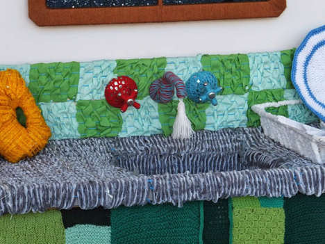 Knitted Kitchen Installations - Knitchen by Warwick Art Gallery is the Ultimate Cozy Culinary Space