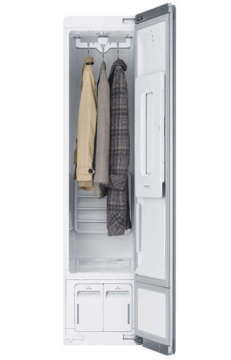 Washing Machine Wardrobes - A Laundering Closet Cleans Delicate Clothes Conveniently While They Hang