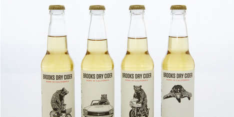 Grizzly Bear Beer Branding - Brooks Dry Cider Packaging Illustrates History Surrounding its Origin