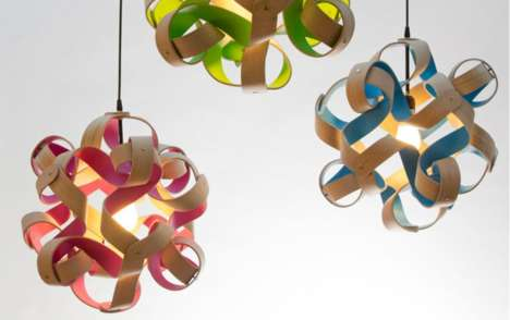 Curlicue Ceiling Lights - Curly Wooden Lamps Artistically Express Carpenters' Beautiful Byproduct