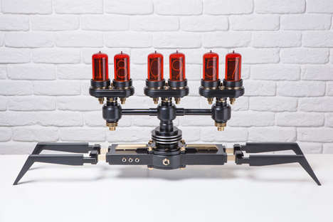 Crab-Legged Steampunk Clocks - Nixie Machine Fuses Vintage Digital Tubes with Modern Manufacturing