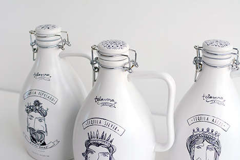 Sketched Ceramic Branding - Illustrated Tequila Bottles Feature Doodles of the Mayan Gods