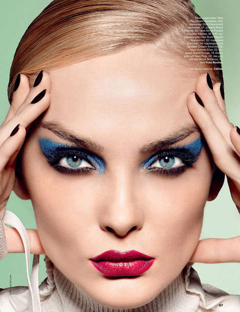 Multicolor Eyeshadow Editorials - Snejana Onopka Stars in a Retro Themed Beauty Shoot for Allure