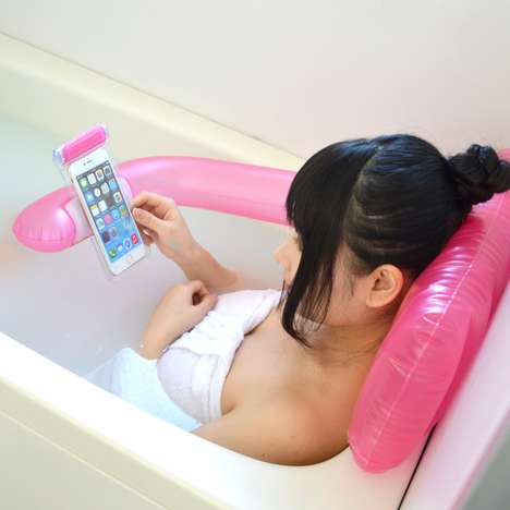 Tub Smartphone Holders - This Inflatable Bath Accessory Helps You Relax on Your Phone in the Tub
