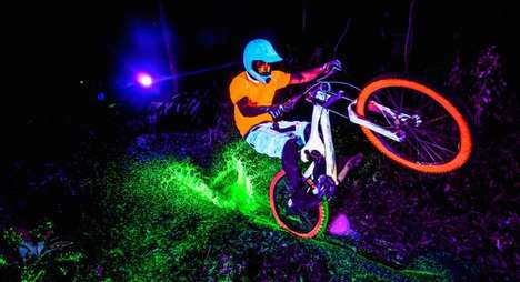 Illuminated Cycling Stunts - The Black Light Bikes Video is a Collaboration with Red Bull