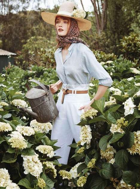 Glam Garden Editorials - Marie Claire Australia's In Bloom Story Boasts Floral Fashions