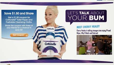 Hilarious Toilet Discussions - Cherry Healey Promotes Cottonelle Flushable Wipes by Talking Bums