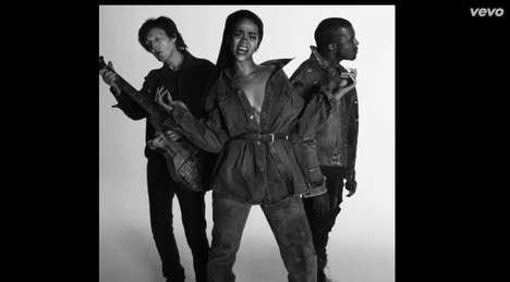 Denim-Clad Rock Trios - The Rihanna FourFiveSeconds Video Features Kanye West And Paul McCartney