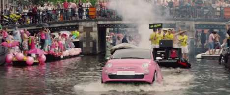 Floating Parade Cars - Fiat's Car Advertising Stunt Made a Splash at the Gay Pride Canal Parade