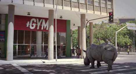Animalistic Drink Ads - This TNT Energy Drink Ad Stars a Gym-Loving Rhino