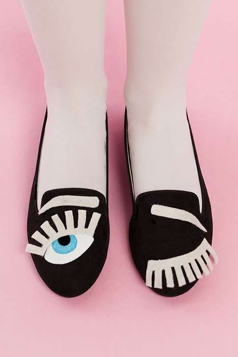 Winking Shoe DIYs - These Printed Loafers are Inspired by Chiara Ferragni's Fun Design