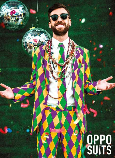 Festive Mardi Gras Suits - OppoSuits' Harleking Design Celebrates Fat Tuesday
