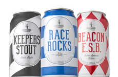 Nautical-Patterned Brew Branding - The Beer Cans From the Lighthouse Brewing Company are Sea Themed