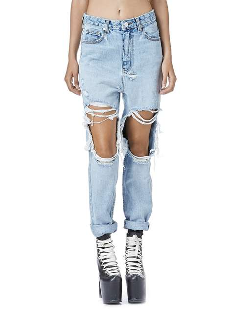 Distressed Denim Fashion - UNIF's Twerk Jeans are a Throwback to Vintage Styles from the 90s