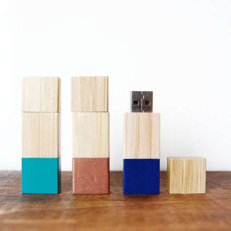 Stylish File Storage - Etsy's Colorblocked Wood Flash Drive Can Be Paired with a Cute Outfit