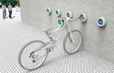 Space-Saving Cycle Storage - Pull-Out Bike Racks Only Occupy the Sidewalk When They're in Use