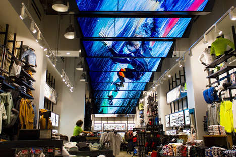 LCD Ceiling Displays - The Oakley Store Display Features 27 LCD Screens