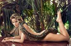 Sensual Snake Portraits - The Latest Vanity Fair Jennifer Lawrence Feature is Erotically Exotic