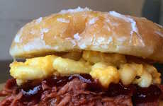 Cheesy Pulled Pork Creations - This Glazed Donut Sandwich Contains Pulled Pork Plus Mac and Cheese