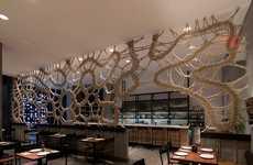 Handmade Rope Walls - Mantzalin Creates an Intricate Screen for New York Restaurant Stix