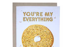 Comedic Bagel Valentine Greetings - This Cute Food Valentine Card Features an Everything Bagel