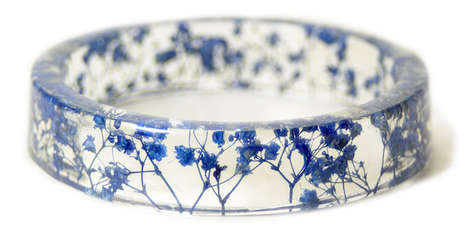 Dried Flower Bangles - This Homemade Resin Bracelet Collection Contains Small Pieces of Nature