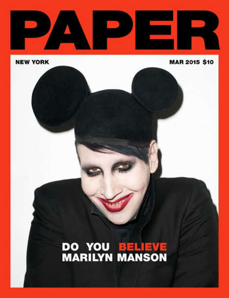 Macabre Rocker Editorials - The Marilyn Manson Cover for Paper Magazine is Mildly Frightening