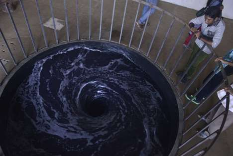 Indoor Whirlpool Exhibits - Descension by Anish Kapoor is a Mesmerizing Installation