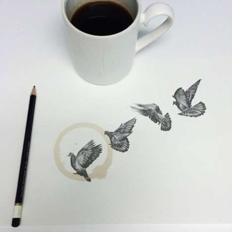 Spilt Java Sketches - These Coffee Stain Drawings by Carter Asmann are Clever and Cute