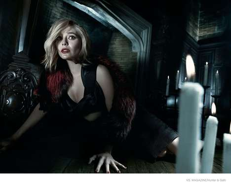 Scream Queen Editorials - Elizabeth Olsen Channels 70s Horror Glamor for Vs. Magazine
