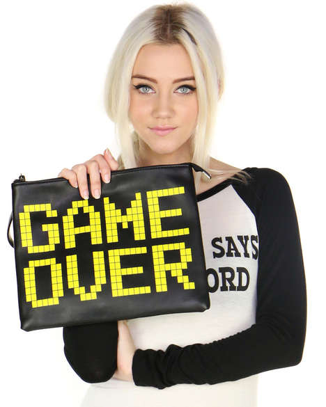 Retro Arcade Clutches - Shop Jeen's Printed Bag is Adorned With a Game Over Slogan