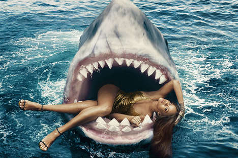Shark-Infested Editorials - Rihanna Swims with Sharks in Harper's Bazaar's March Issue