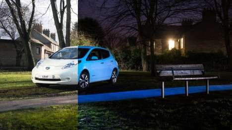 Glow-In-the-Dark Cars - The Nissan Leaf Electric Car Glows Green In the Dark