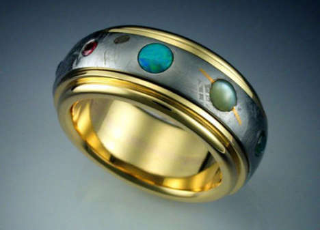 Solar System Rings - This Stylish Metallic Ring Showcases the Entire Universe