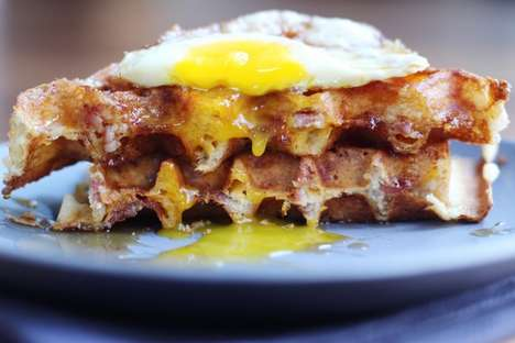 Cheesy Bacon Waffles - These Yeasted Cheddar Waffles Come with a Tantalizing Layer of Bacon