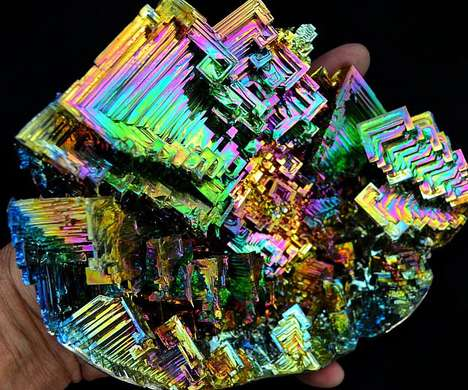 Prismatic Geology Crystals - These Colorful Bismuth Crystals Capture All the Colors of the Rainbow