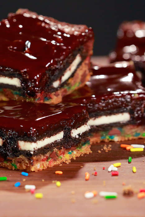 Sweet Layered Brownies - PopSugar's Slutty Brownie Recipe is Double Stuffed with Two Cookie Kinds