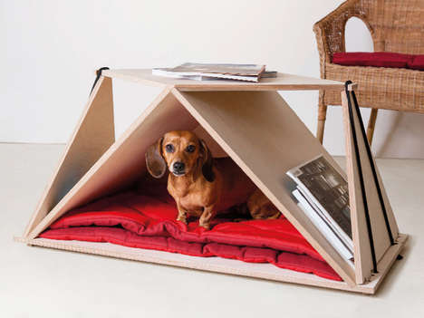 Geometric Multi-Tasking Tables - This 3-in-1 Small Pet Bed is Held Together Using One Elastic Band