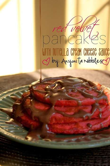 Cake-Flavored Flapjacks - This Red Velvet Pancakes Recipe Comes with Nutella Cream Cheese Sauce