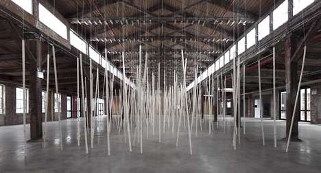 Wooden Sound Installations - The New Sound Installation by Zimoun Employs Roof Laths and Rope