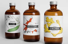 Illustrated Elixir Labels - Medicine Bottle Syrup Packaging Mixes Medicinal with Beverage Branding