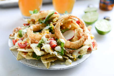 Light Onion Ring Recipes - This Tasty Mix Combines BBQ Chicken, Nachos and Buttermilk-Fried Toppings