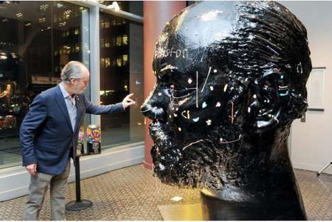 Sticky Art Installations - Gumhead by Douglas Coupland Allows People to Stick Chewed Gum to his Face