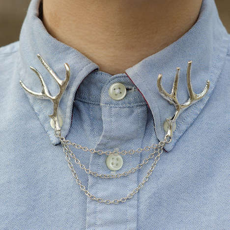 Horned Collar Tips - The Deer Antler Collar Clip Spices Up Any Button Down Shirt