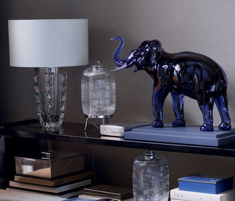 Luxurious Crystal Sculptures - The Midnight-Colored Crystal Elephant from Baccarat is $37,000